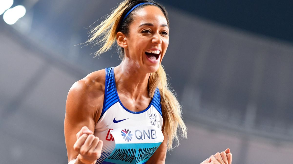 Britain's Katarina Johnson-Thompson reacts as she competes in the Women's Shot Put Heptathlon heats at the 2019 IAAF Athletics World Championships at the Khalifa International stadium in Doha on October 2, 2019. (Photo by ANDREJ ISAKOVIC / AFP) (Photo by