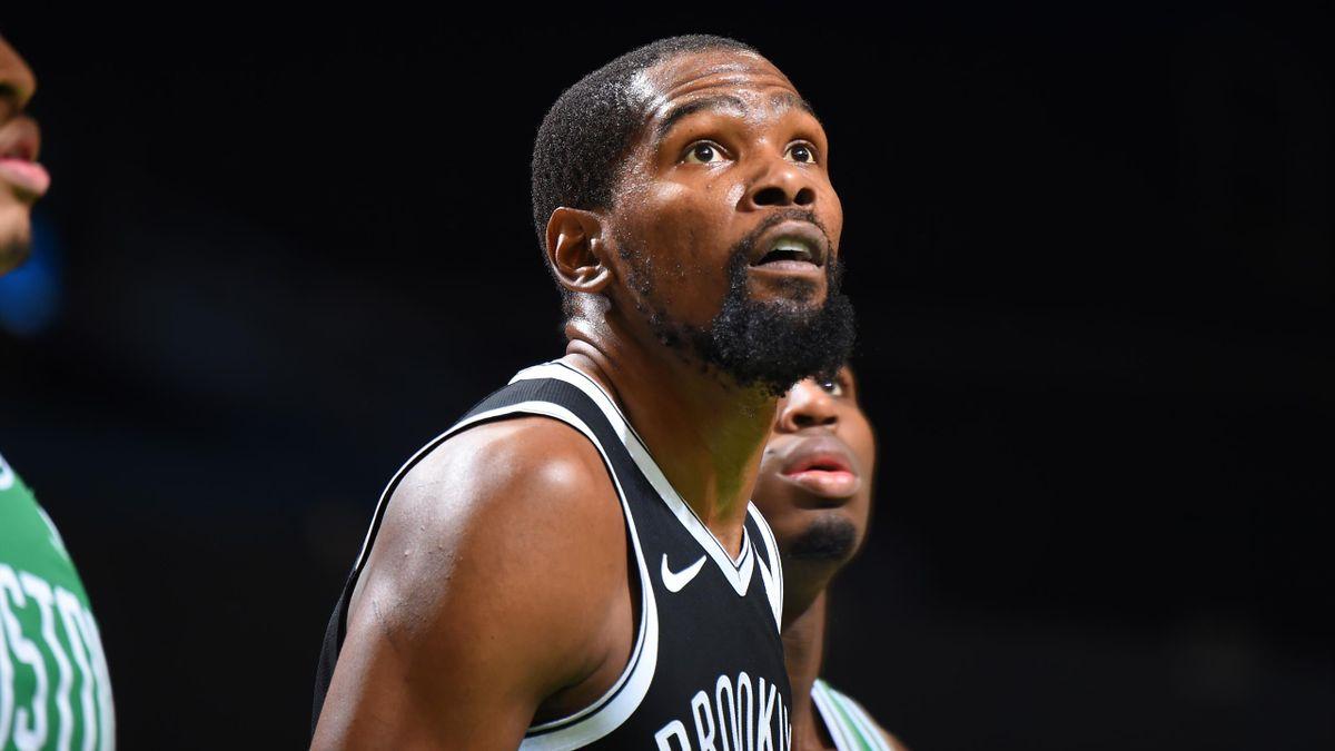 Kevin Durant lors du match de pré-saison Brooklyn-Boston en 2020