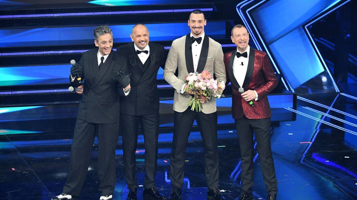 Ibrahimovic, Mihajlovic, Amadeus e Fiorello a Sanremo 2021