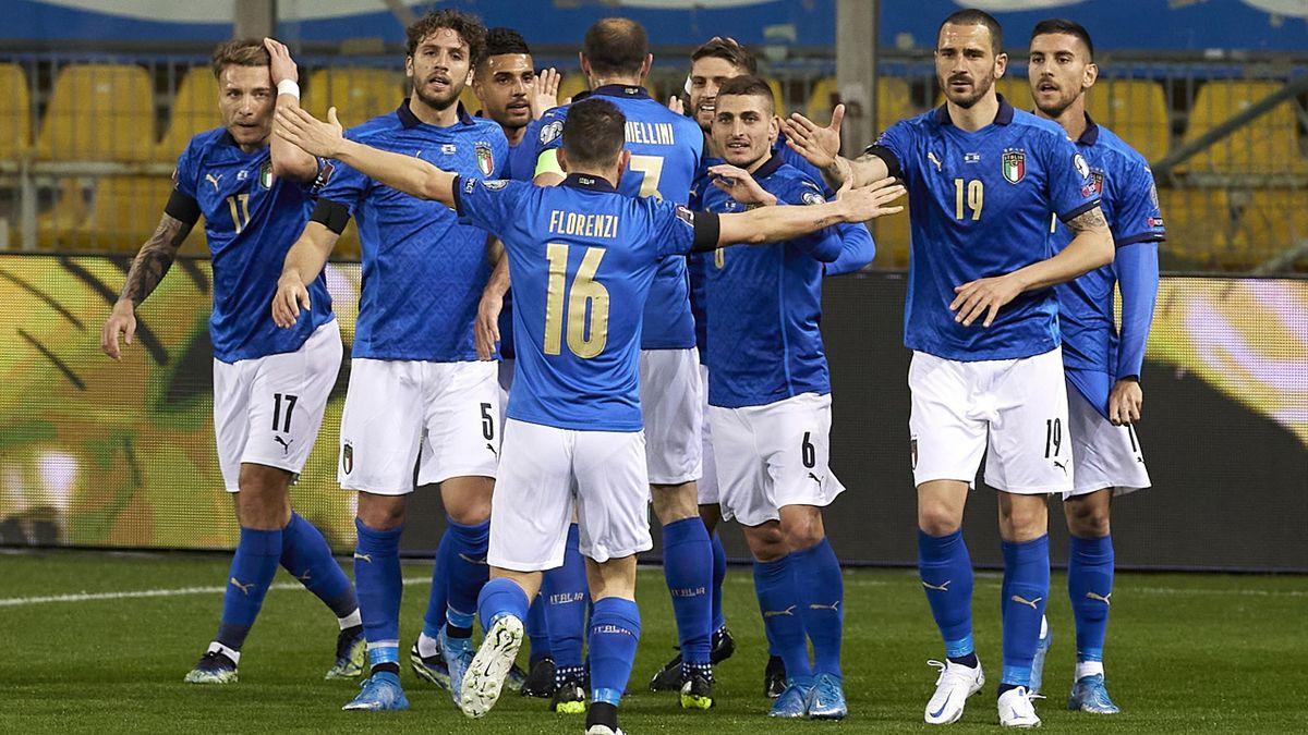 L'esultanza dell'Italia contro l'Irlanda del Nord