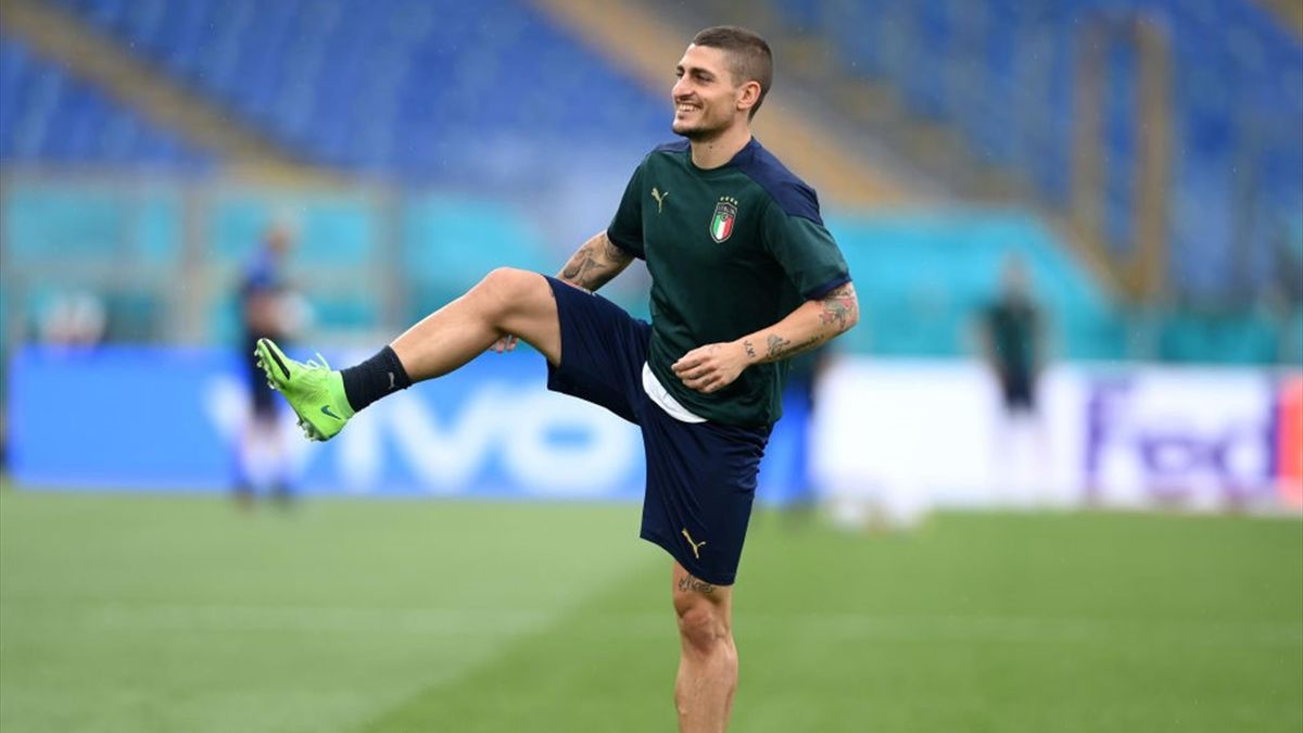 Marco Verratti in allenamento con la Nazionale a Euro 2020