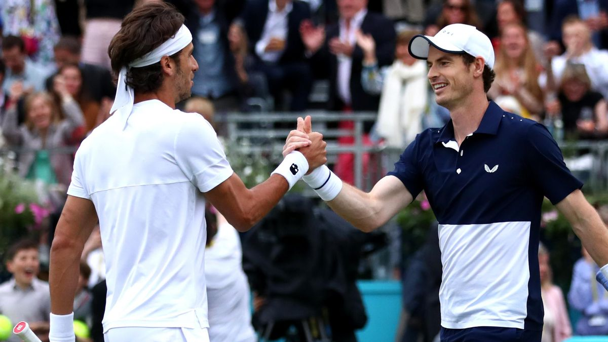 Andy Murray with Feliciano Lopez at Queen's