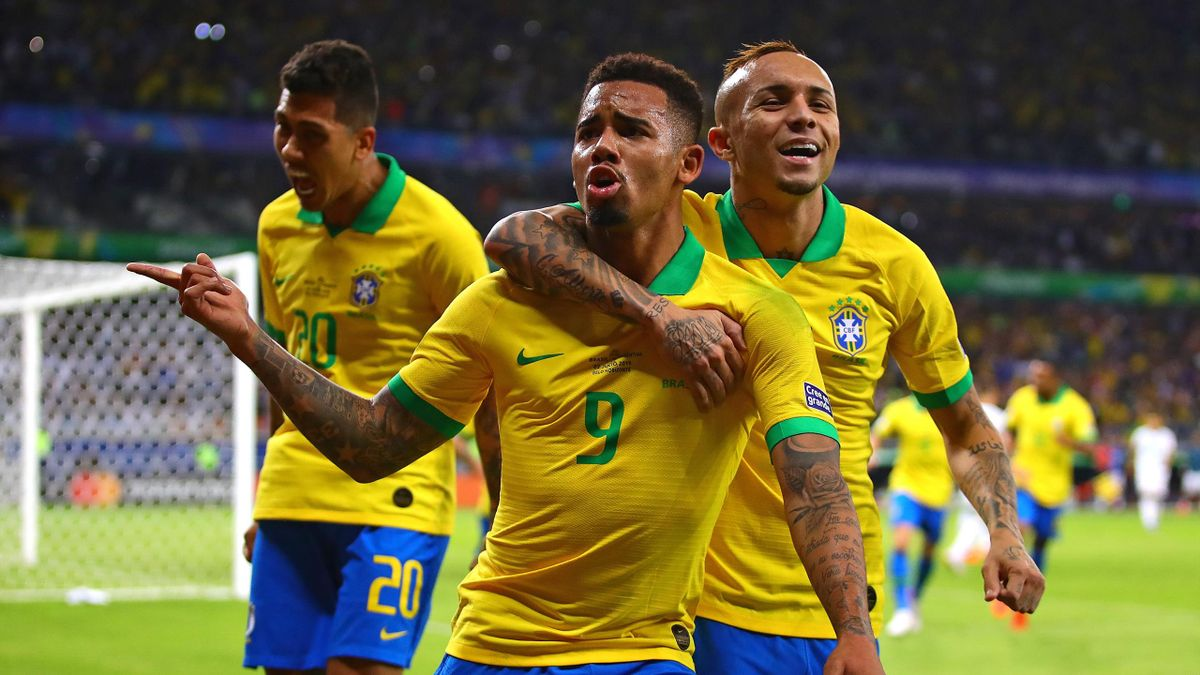 Gabriel Jesus of Brazil celebrates scoring the opening goal during the Copa America Brazil 2019 Semi Final match between Brazil and Argentina at Mineirao Stadium on July 02, 2019 in Belo Horizonte, Brazil.