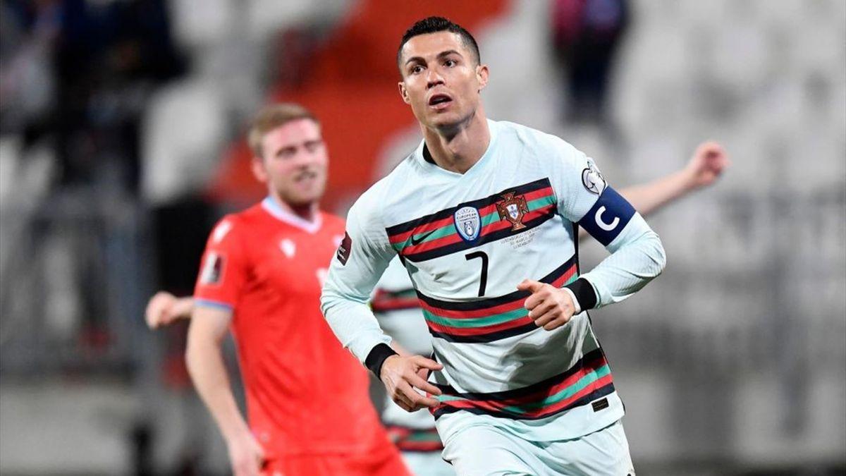 Cristiano Ronaldo a segno in Lussemburgo-Portogallo - Qualificazioni Mondiali 2022 - Getty Images