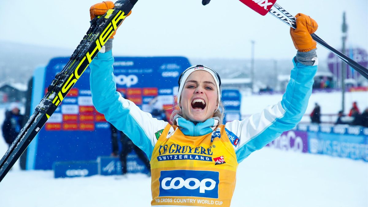 Norway's Therese Johaug reacts after winning the 15km free event at the FIS Cross Country Skiing World Cup in Beitostolen, Norway, on December 8, 2018.