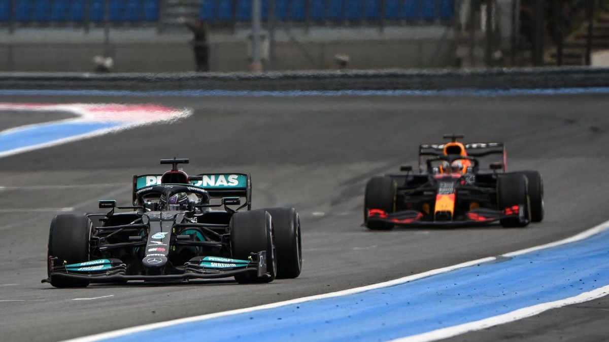 Il sorpasso Verstappen-Hamilton al GP di Francia 2021