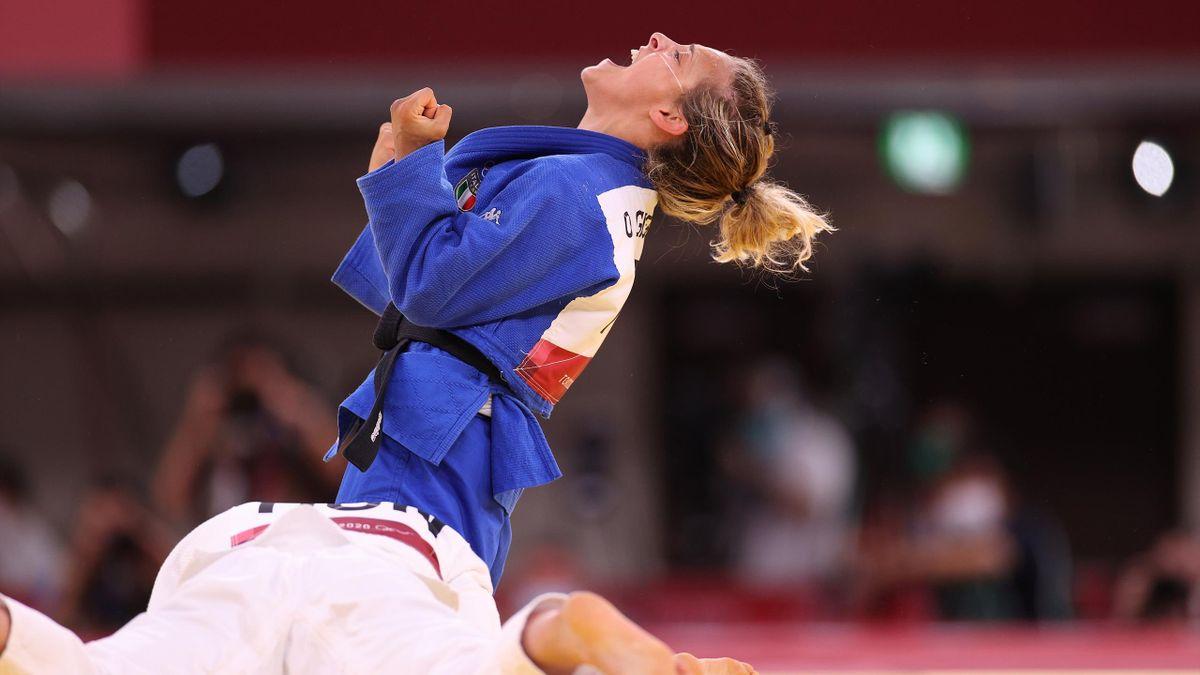 L'urlo di gioia di Odette Giuffrida dopo la vittoria del bronzo a Tokyo 2020, Judo, Olimpiadi, Getty Images