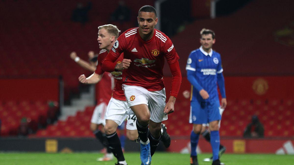 Mason Greenwood (vorne) schoss Manchester United zum Sieg gegen Brighton