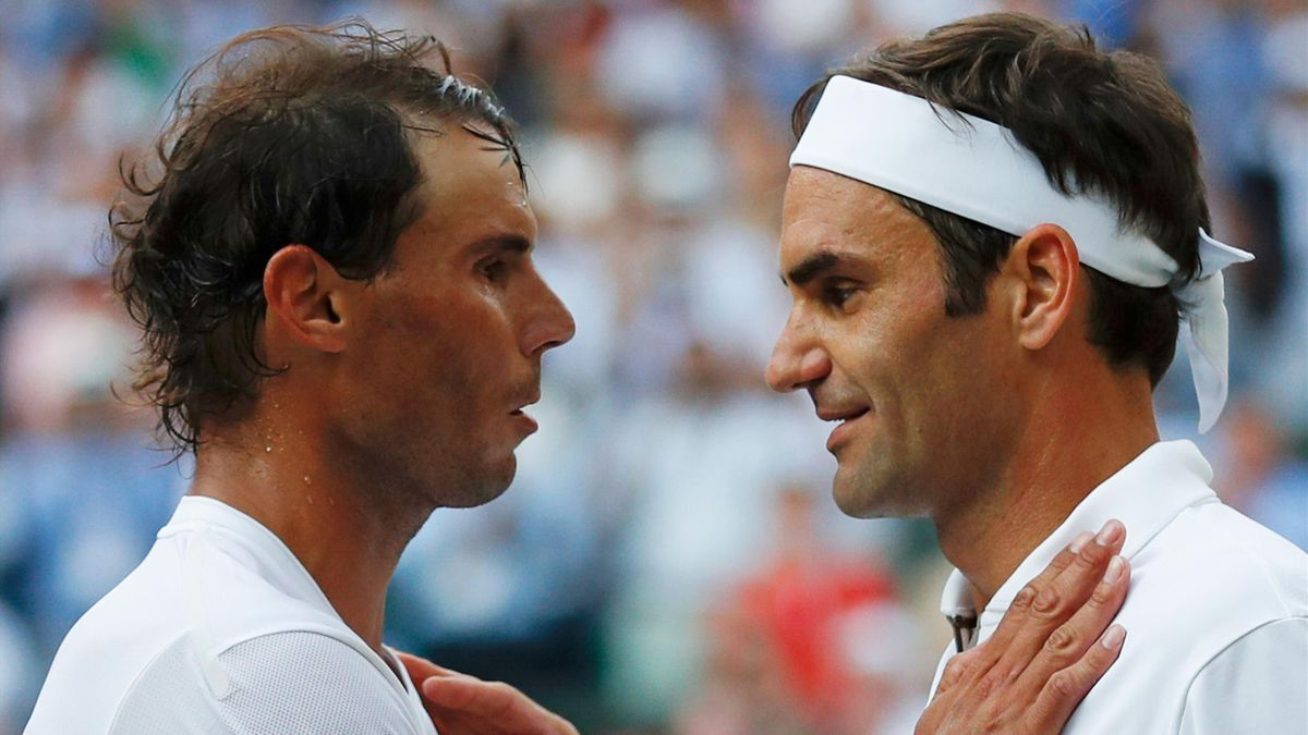 Rafael Nadal and Roger Federer after their Wimbledon semi-final