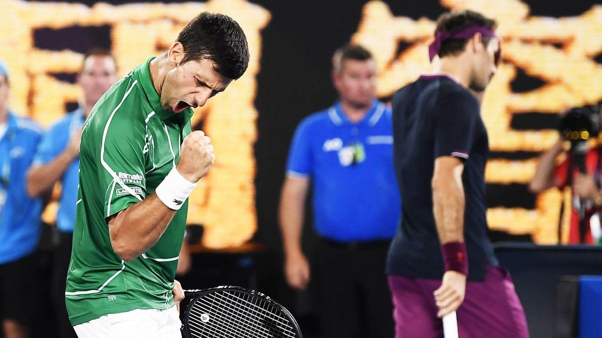 Novak Djokovic (li.) und Roger Federer (re.)