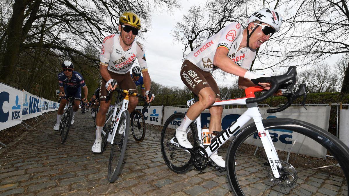 Oliver Naesen and Greg van Avermaet gobbling cobbles
