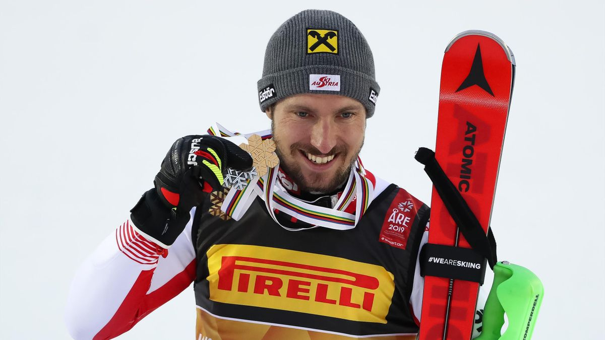 Marcel Hirscher of Austria wins the gold medal during the FIS World Ski Championships Men's Slalom on February 17, 2019 in Are Sweden.