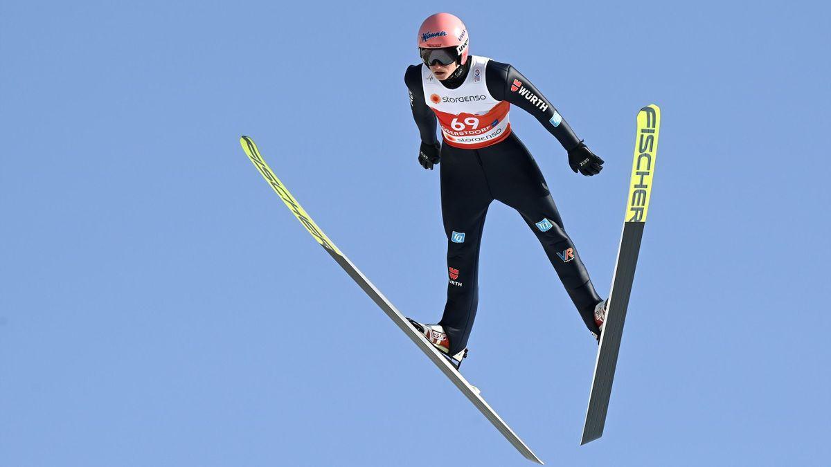 Karl Geiger bei der Nordischen Ski-WM 2021 in Oberstdorf