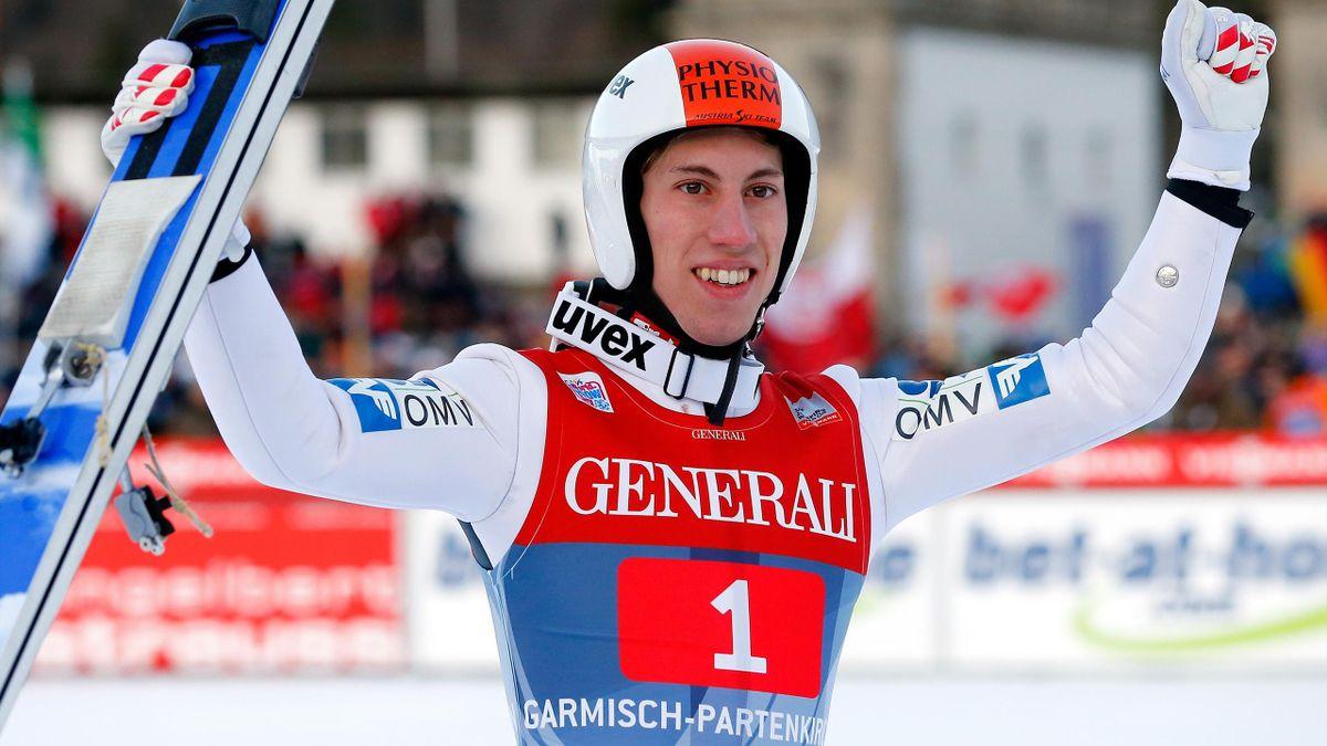 Austria's Thomas Diethart celebrates after winning the second jumping of the four-hills tournament in Garmisch-Partenkirchen (Reuters)