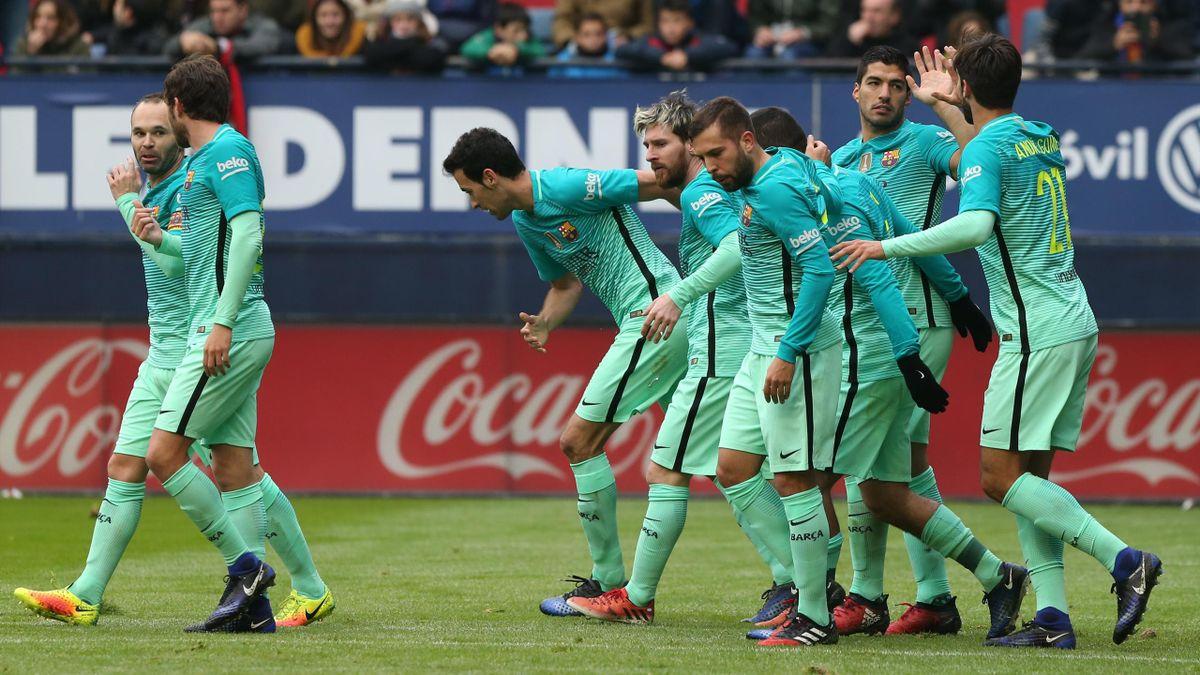 La joie des joueurs de Barcelone lors de leur victoire face à Osasuna en 2016.