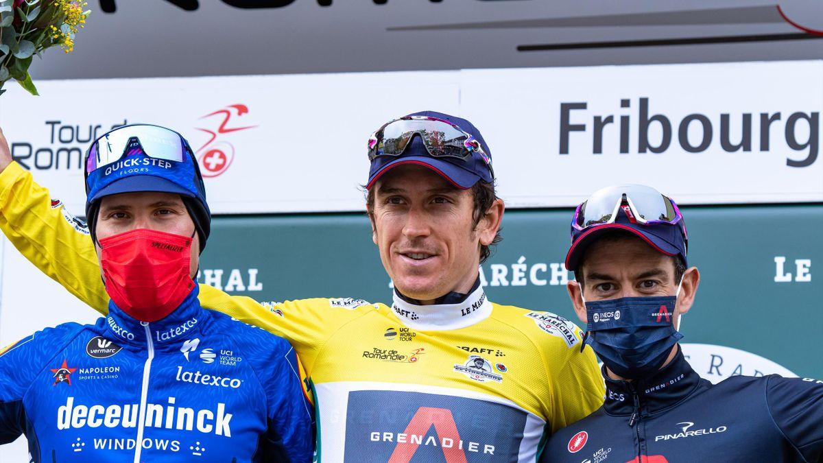 Geraint Thomas celebrates Tour de Romandie victory alongside second-place Fausto Masnada (Deceuninck-QuickStep) and teammate Richie Porte (Team INEOS Grenadiers) in third