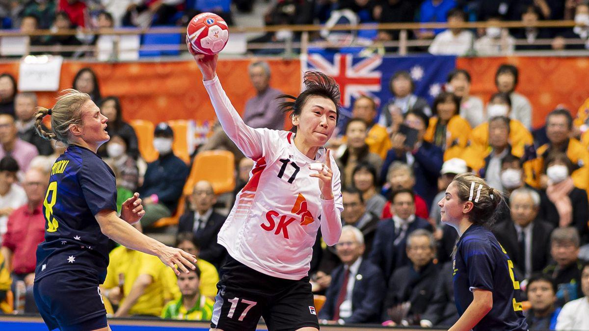 Haein Sim (Mitte) und Südkorea sind bei der WM noch ungeschlagen