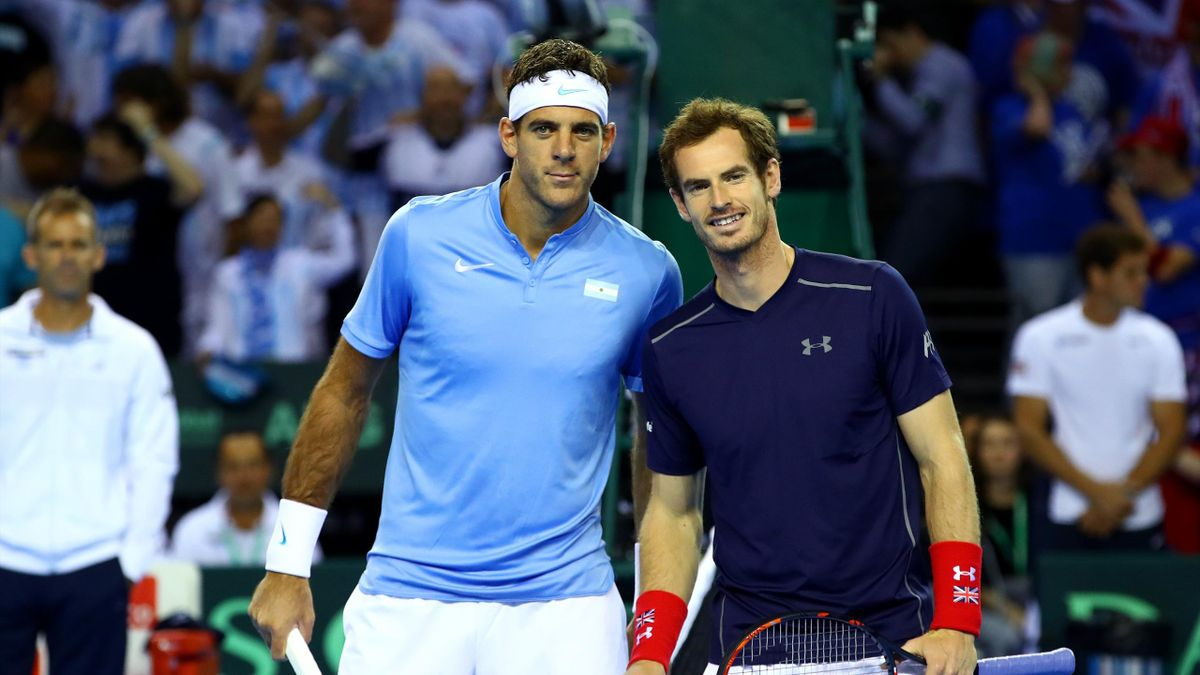 Andy Murray of Great Britain and Juan Martin del Potro of Argentina