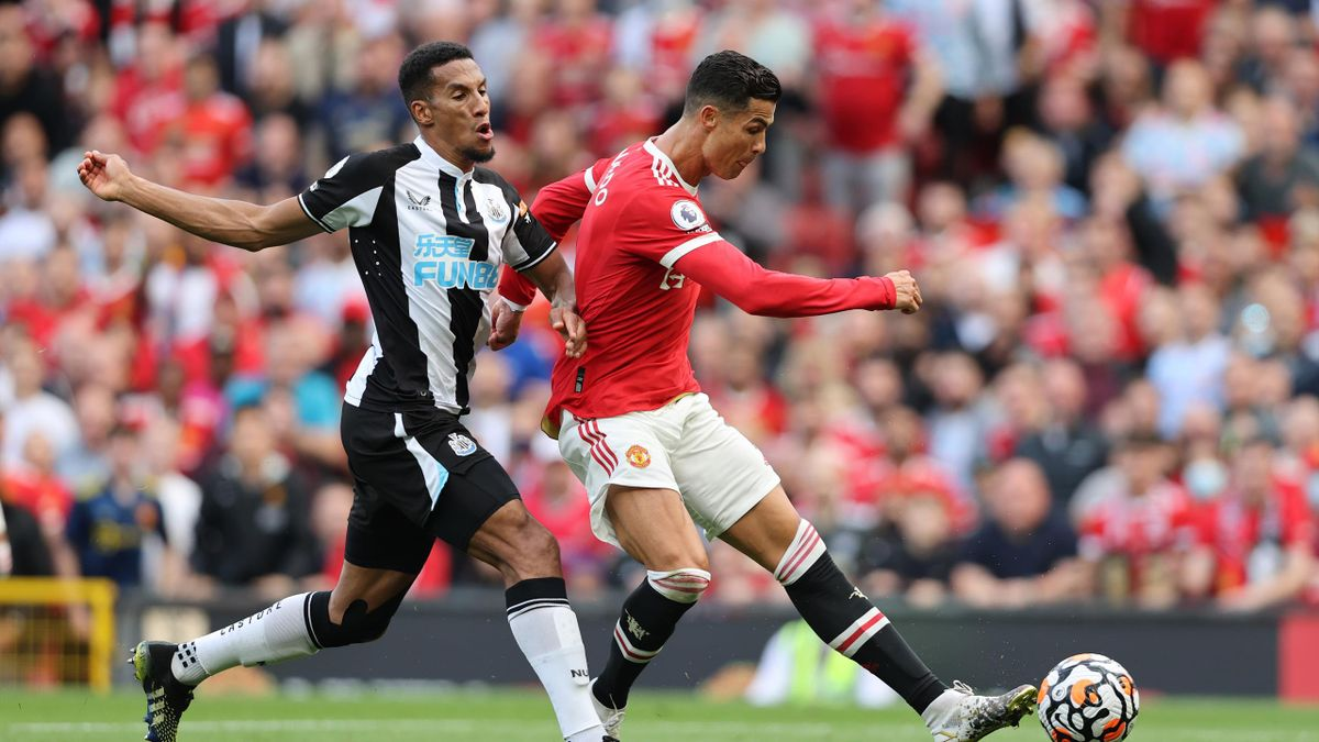 Cristiano Ronaldo of Manchester United scores their side's second goal during the Premier League match between Manchester United and Newcastle United