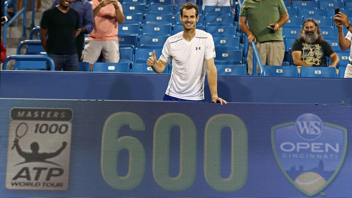 Andy Murray (GBR) celebrates winning his 600th career match, after defeating Kevin Anderson (USA) on day six during the Western and Southern tennis tournament at Linder Family Tennis Center.