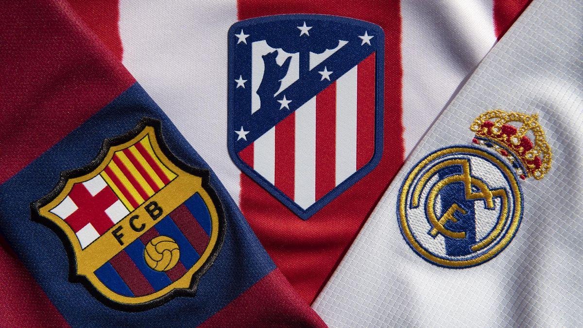 Escudos del Barcelona, Atlético de Madrid y Real Madrid
