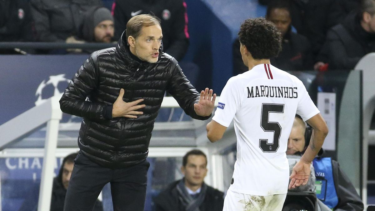 Coach of PSG Thomas Tuchel, Marquinhos of PSG during the UEFA Champions League Group C match between Paris Saint-Germain (PSG) and Liverpool FC