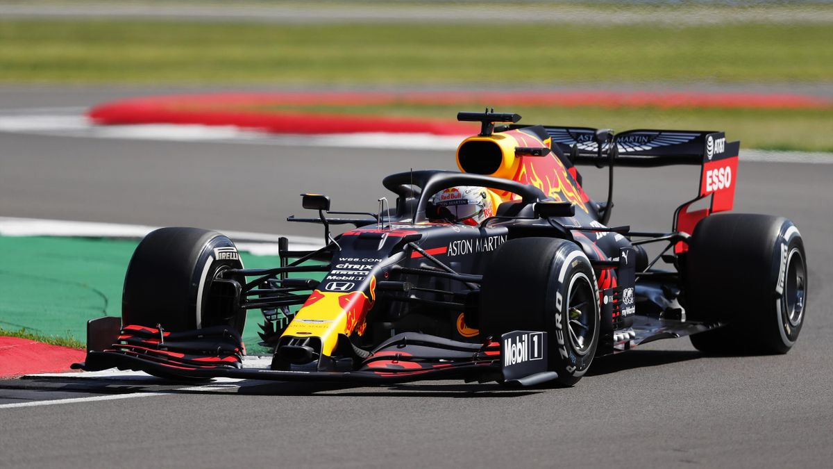 Max Verstappen of the Netherlands driving the (33) Aston Martin Red Bull Racing RB16 on track during practice for the F1 Grand Prix of Great Britain at Silverstone on July 31, 2020 in Northampton, England.