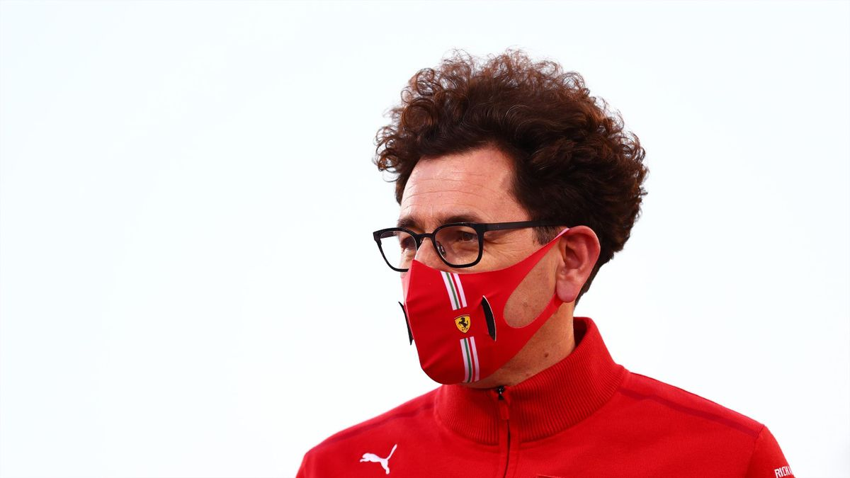 Scuderia Ferrari Team Principal Mattia Binotto looks on ahead of the F1 Grand Prix of Bahrain at Bahrain International Circuit on March 28, 2021 in Bahrain, Bahrain