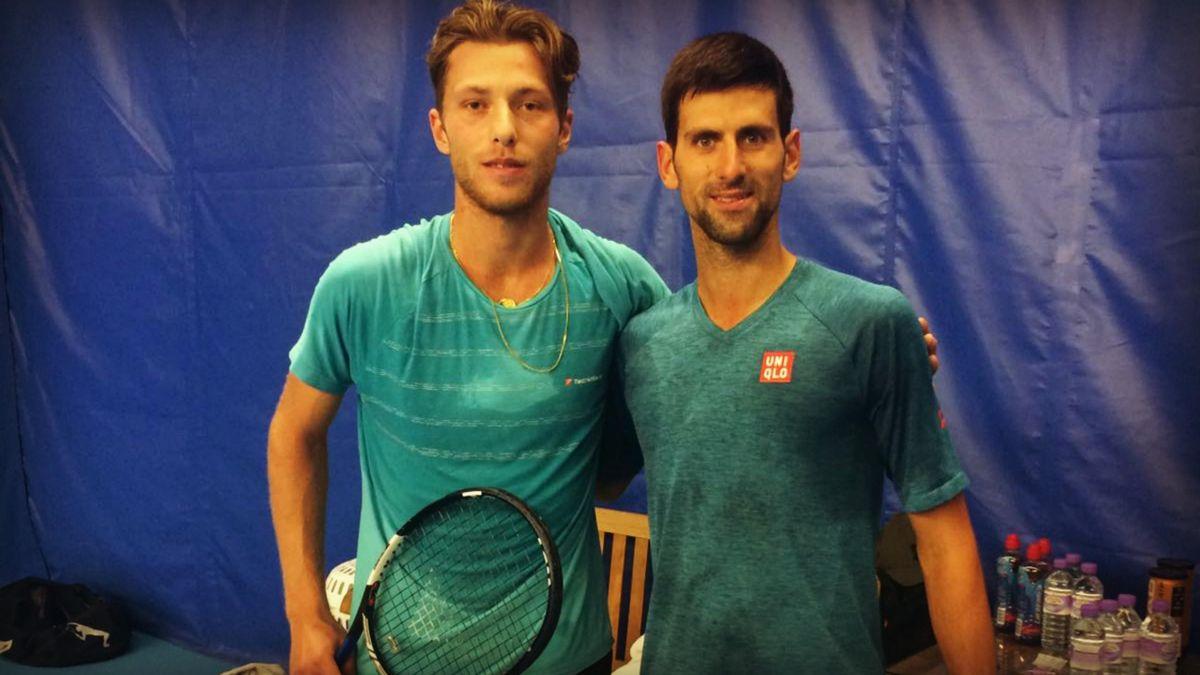 Hugo Grenier et Novak Djokovic
