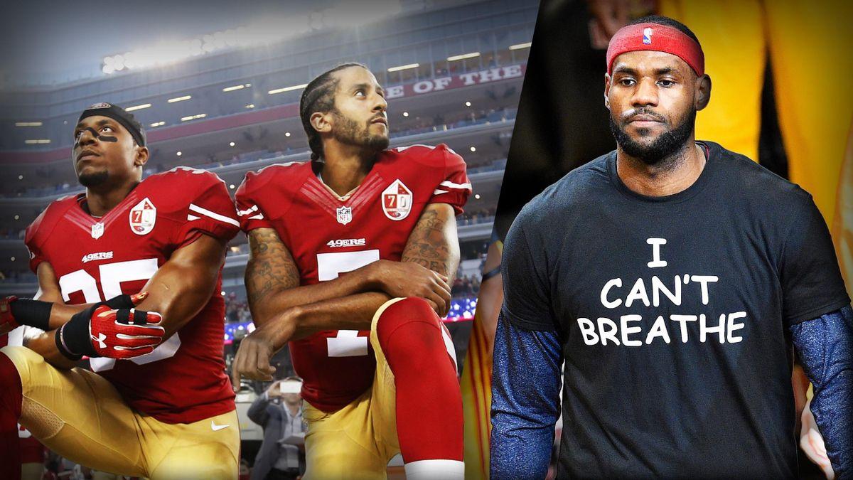 Colin Kaepernick en NFL et LeBron James en NBA