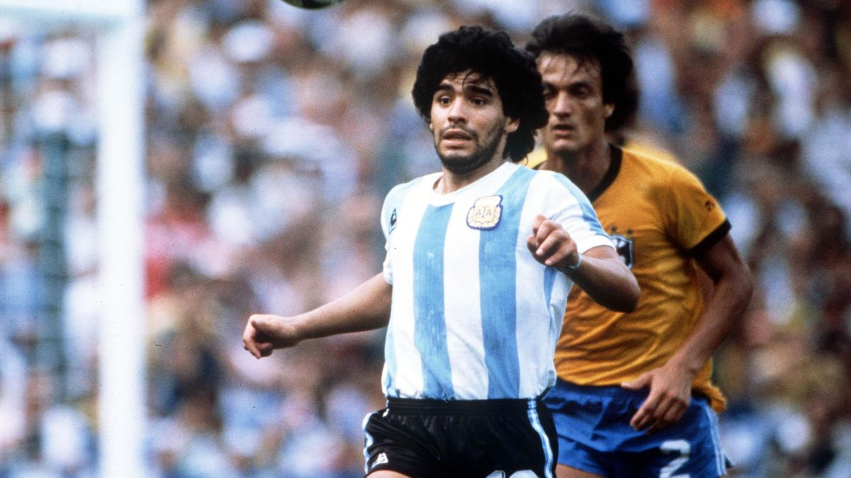 1982 World Cup Finals. Second Phase. Barcelona, Spain. 2nd July, 1982. Brazil 3 v Argentina 1. Argentina's Diego Maradona.
