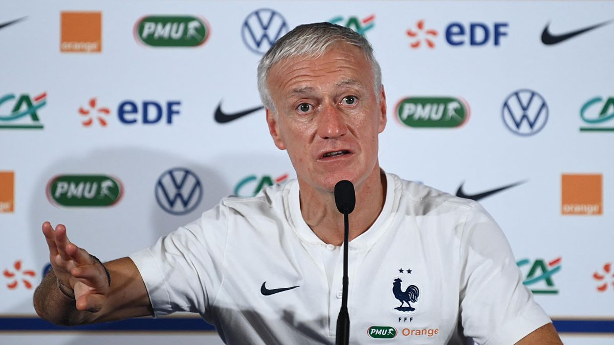 France's national football team head coach Didier Deschamps addresses a press conference at the Stade De France in Saint-Denis, on the outskirts of Paris on June 7, 2021, on the eve of his team's friendly football match against Bulgaria