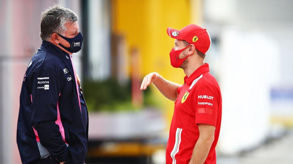 Aston-Martin-Teamchef Otmar Szafnauer (hier noch in Racing-Point-Kleidung) im Gespräch mit Sebastian Vettel (r.)
