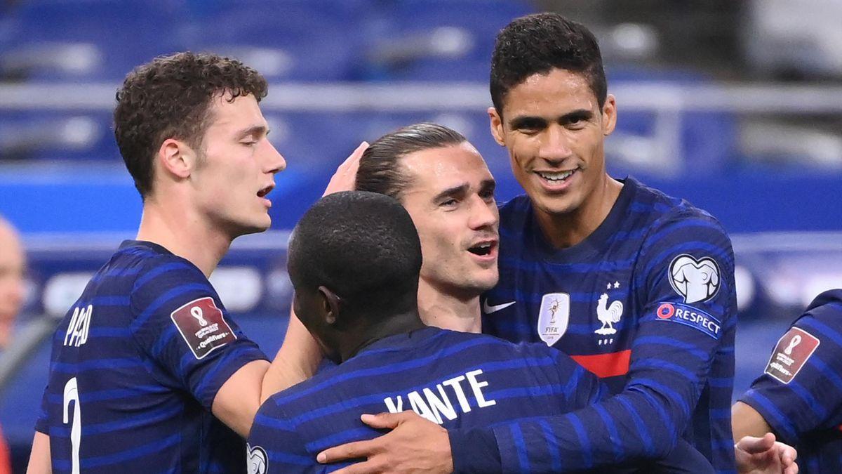 Benjamin Pavard, N'Golo Kanté, Antoine Griezmann et Raphaël Varane lors du match France - Ukraine, le 24 mars 2021 au stade de France.