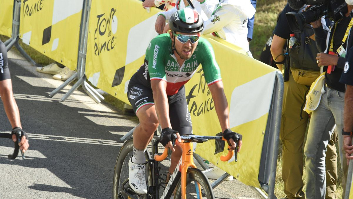 Sonny Colbrelli all'arrivo a Mûr de Bretagne - Tour de France 2021 - Imago