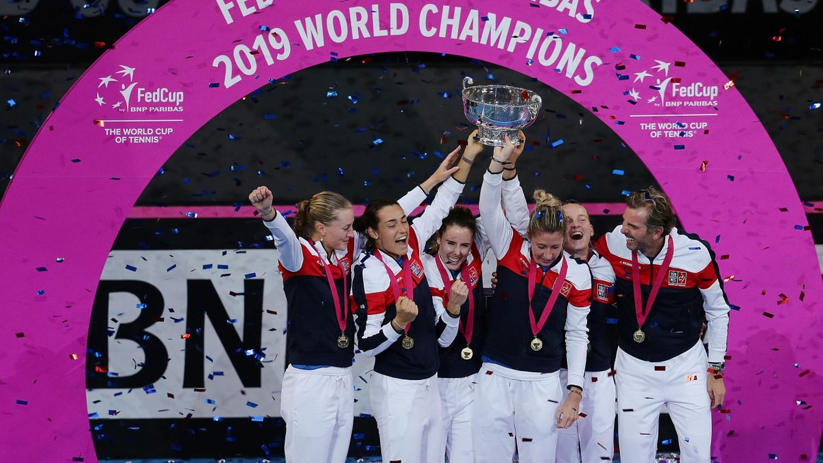 Team France celebrate after winning the 2019 Fed Cup Final tie between Australia and France at RAC Arena on November 10, 2019