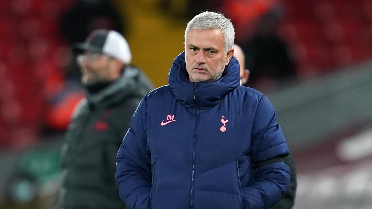 Jose Mourinho glares during Liverpool v Tottenham