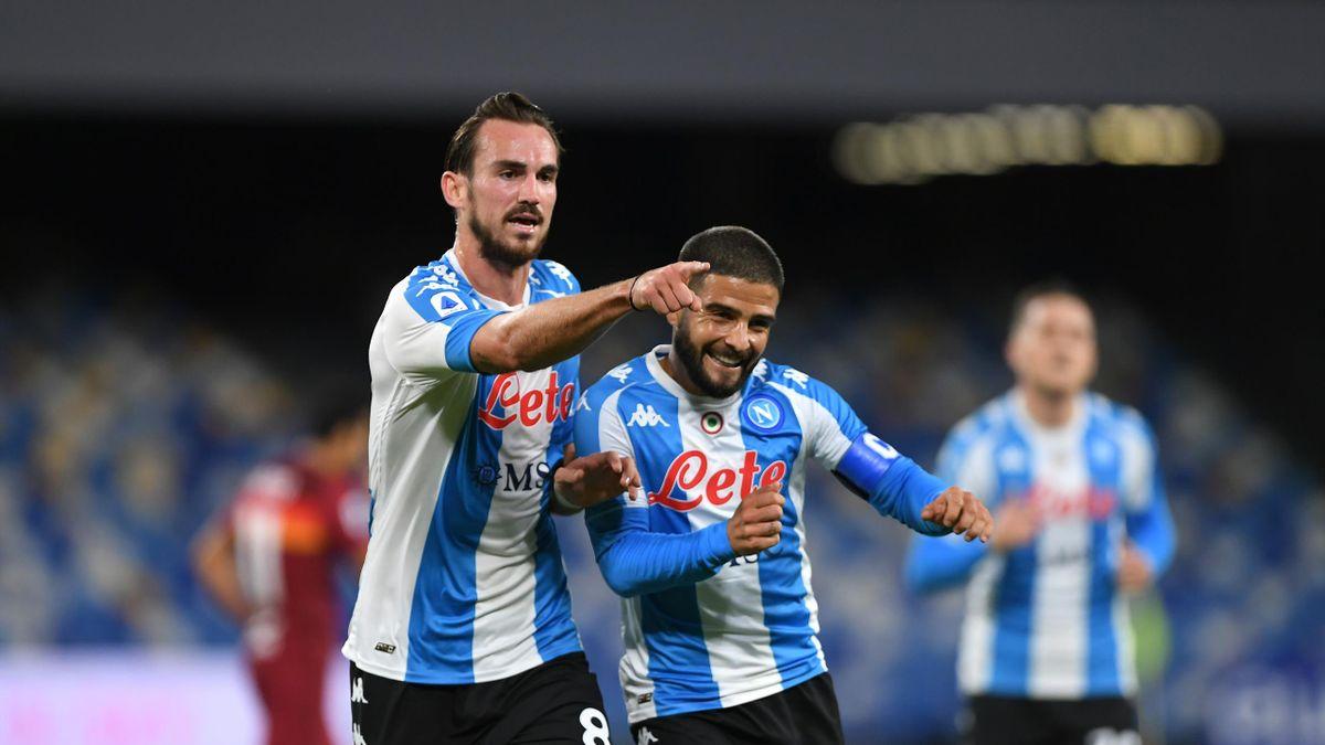 Fabian Ruiz e Lorenzo Insigne in gol in Napoli-Roma (Getty)