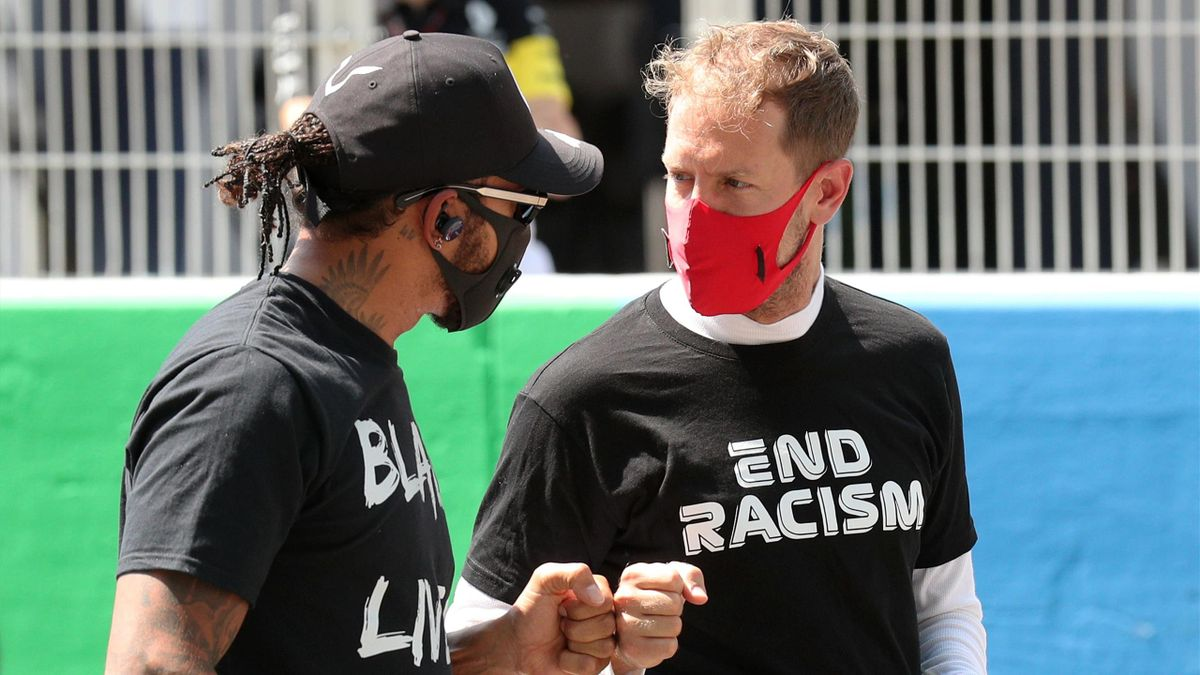 Lewis Hamilton (links) gratulierte Sebastian Vettel zum Wechsel