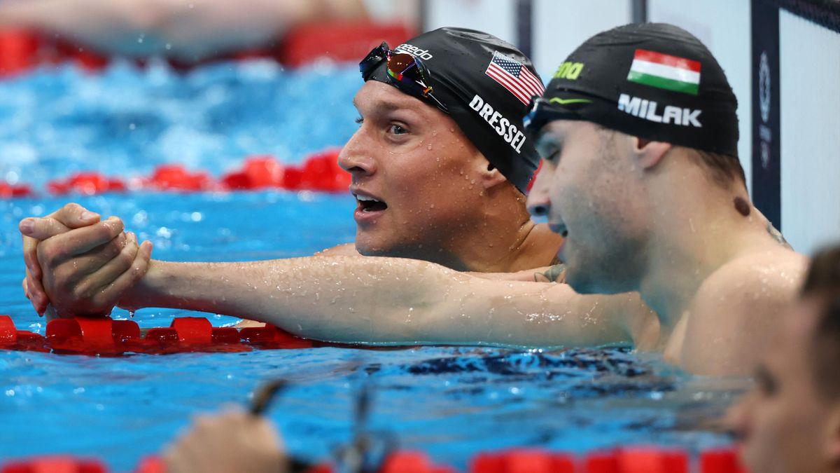 Dressel și Milak, după cursa de 100 metri fluture