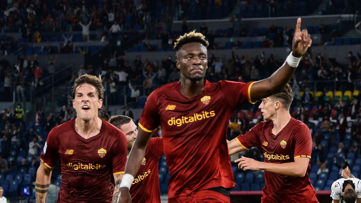 Tammy Abraham of AS Roma celebrates with teammate Nicolò Zaniolo after scoring goal 1-0 during the Serie A match between AS Roma v Udinese Calcio at Stadio Olimpico on September 23, 2021 in Rome, Italy.