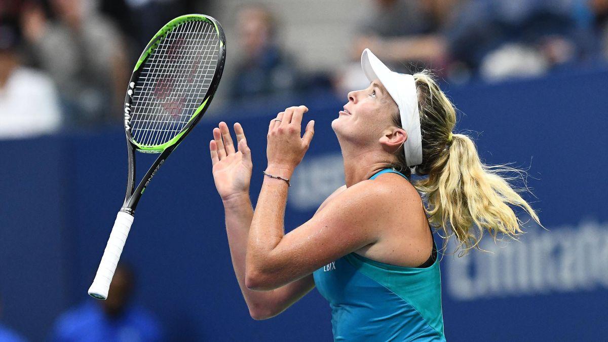 CoCo Vandeweghe of the US celebrates defeating Czech Republic's Karolina Pliskova