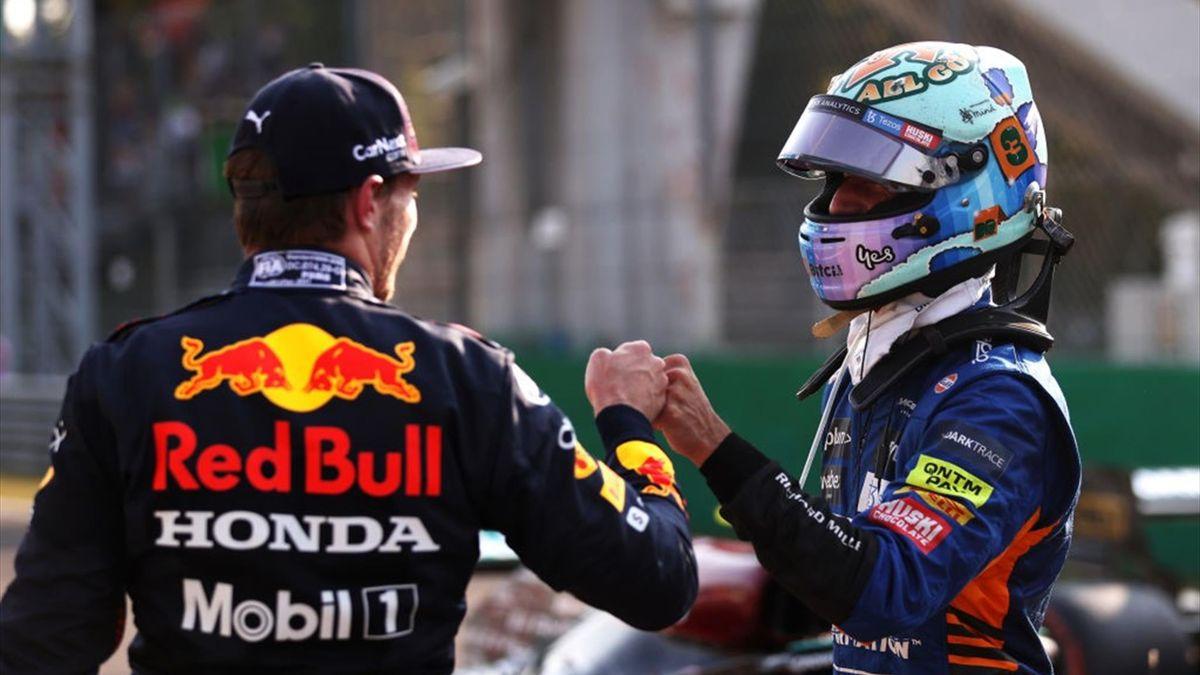 Max Verstappen (Red Bull) et Daniel Ricciardo (McLaren) au Grand Prix d'Italie 2021
