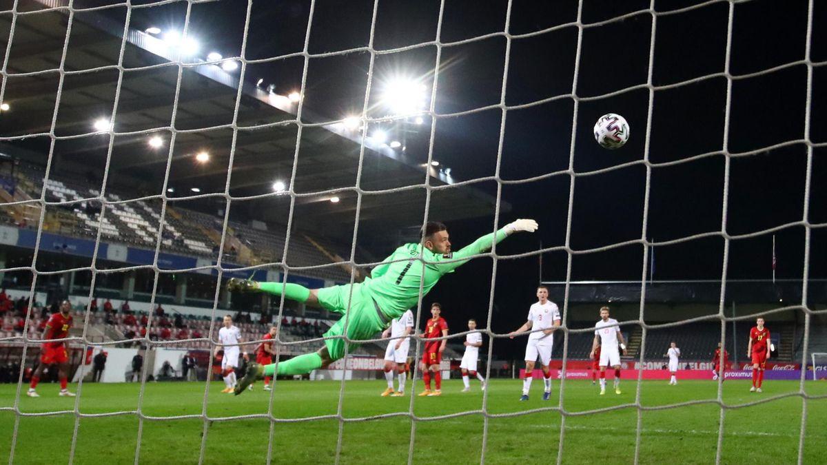 Александр Гутор пропускает третий гол в матче Бельгия – Беларусь (отбор ЧМ-2022)