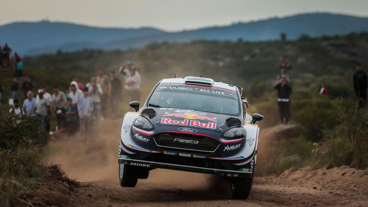 British driver Elfyn Evans steers his Ford Fiesta WRC with his compatriot co-driver Daniel Barritt, in the Argentine province of Cordoba, during the Argentina World Rally Championship (WRC) SS16 Copina-El Condor stage, on April 29, 2018.