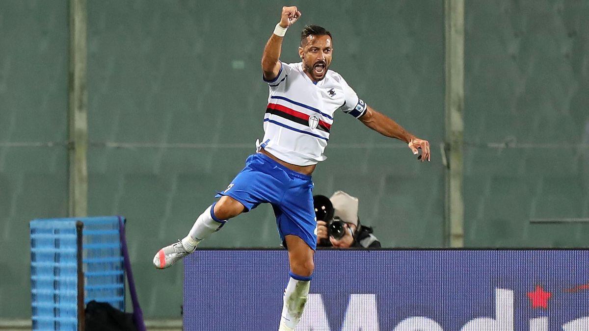 L'esultanza di Fabio Quagliarella, Fiorentina-Sampdoria, Getty Images