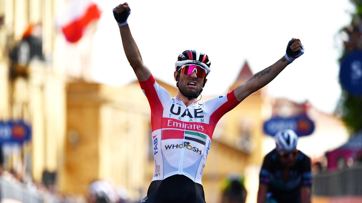 Diego Ulissi of Italy and UAE Team Emirates / Celebration / during the 103rd Giro d'Italia 2020, Stage 2 a 149km stage from Alcamo to Agrigento 243m / @girodiitalia / #Giro / on October 04, 2020 in Agrigento, Italy