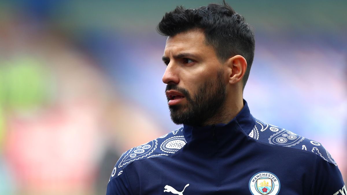 Sergio Aguero of Manchester City walks in from warm up ahead of the Premier League match between Crystal Palace and Manchester City at Selhurst Park on May 01, 2021 in London, England
