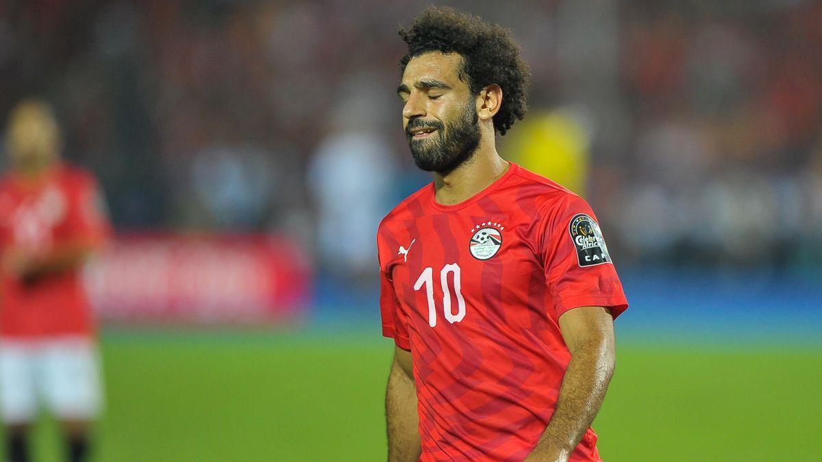Mohamed Salah en larmes après l'élimination de l'Egypte en huitième de finale de la Coupe d'Afrique des Nations 2019, face à l'Afrique du Sud