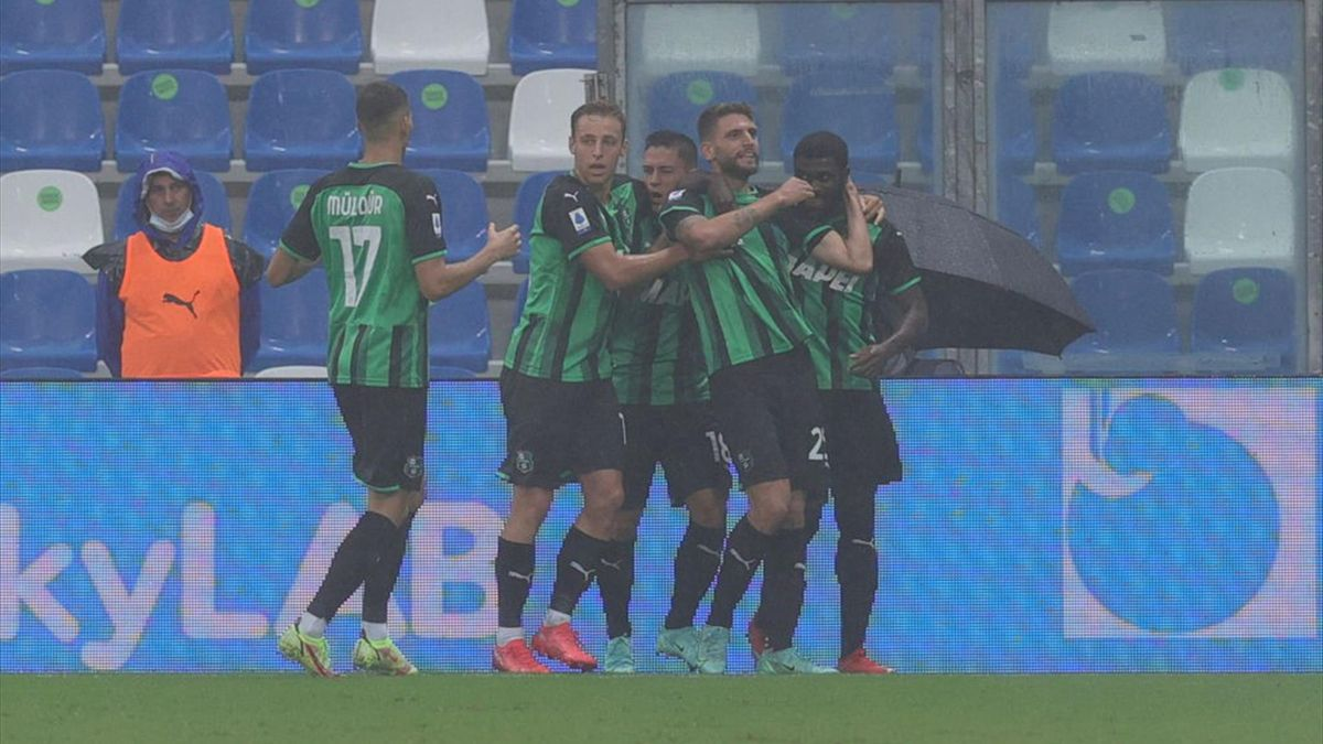 L'esultanza dei giocatori del Sassuolo - Sassuolo-Salernitana - Serie A 2021-22